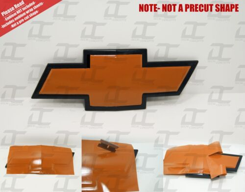 Silverado Gloss Orange Universal Chevy Bowtie Vinyl Sheets Emblem Decal 2