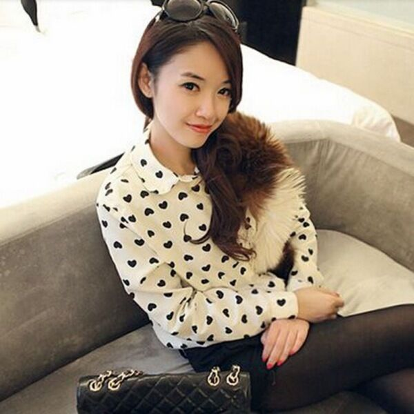 Women's Girls Chiffon T-Shirts Heart Print Long Sleeve Lapel Casual Blouse U36