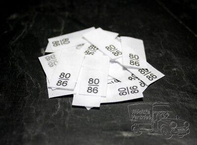 25 Textiletiketten Größe 104//110 auf Mischband