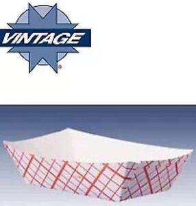 100ct Food Trays 2 Pound Baskets Boats Plaid Paper Cardboard Concession 2 Lbs