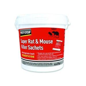 Pest-Stop Super Souris & Rat Killer à grains entiers Appât 6 x 25 g SACHETS Poison  </span>
