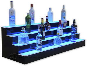 30 4 step tier led lighted shelves illuminated liquor bottle bar image is loading 30 034 4 step tier led lighted shelves mozeypictures Gallery