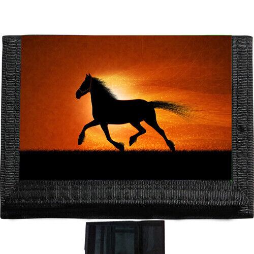 Horse Silhouette BLACK TRIFOLD NYLON WALLET Great Gift Idea