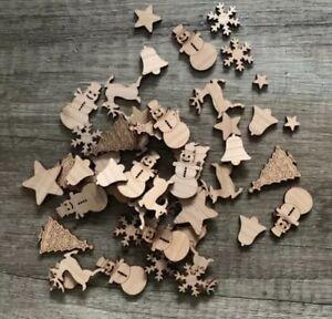 50-Streudeko-Holz-Teile-Tischdeko-Weihnachten-X-Mas-Stern-Baum-Rentier-Deko-Set