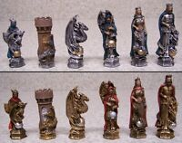 Chess Set With Glass Board King Arthur & Guinevere Fantasy 3½ Kings In Color