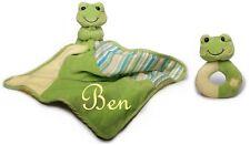 Baby Schmusetuch Frosch mit Namen bestickt + Rassel Kuscheltuch Geburt Taufe
