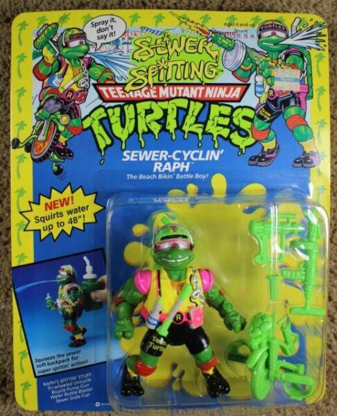 Teenage Mutant Ninja Turtles TMNT Playmates Figure 1991 SEWER CYCLIN' RAPH