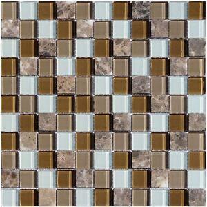 Das Bild Wird Geladen Glassteinmosaik Braun Beige Mix 4mm Mosaik Bad Dusche