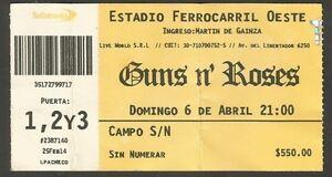 argentina guns n 39 roses concert ticket stub 2014 ebay. Black Bedroom Furniture Sets. Home Design Ideas