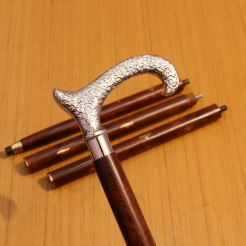 Chrome Plated Handle Vintage Wooden Walking Stick Cane Handmade Antique Style