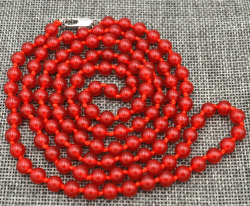 """New Beautiful 6mm Brazil red ruby Gemstone Beads Necklace 38 /""""AAAAA"""