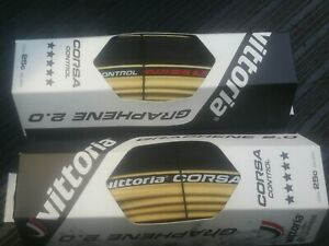 2-x-Vittoria-Competition-Corsa-Control-2-0-Graphene-700-x-25mm-tyres-gum-wall