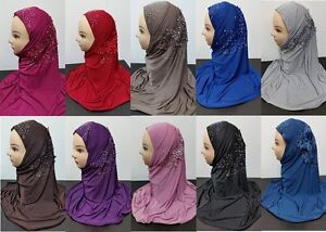 Women ladies Children New Pearl Floral Bead Scarf Hijab Muslim Islamic hat