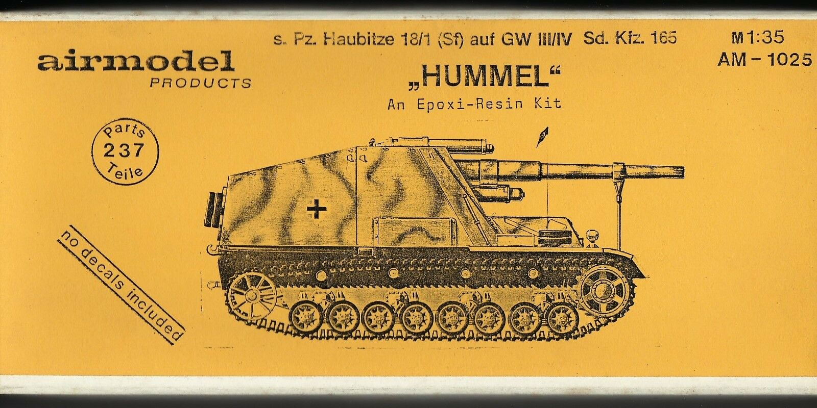 AIRMODEL PRODUCTS AM-1025 - s.Pz. HAUBITZE 18 1 (Sf) auf GW III IV - 1 35 RESIN