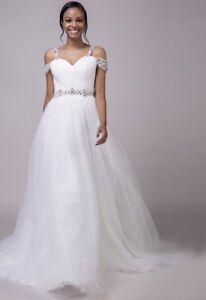 68a58e68544c New White Ivory Beach Spaghetti Strap Off Shoulder Wedding Dress ...