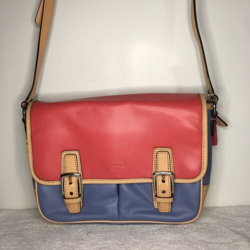 COACH Salmon Pink & Blue Colorblock PARK Crossbody