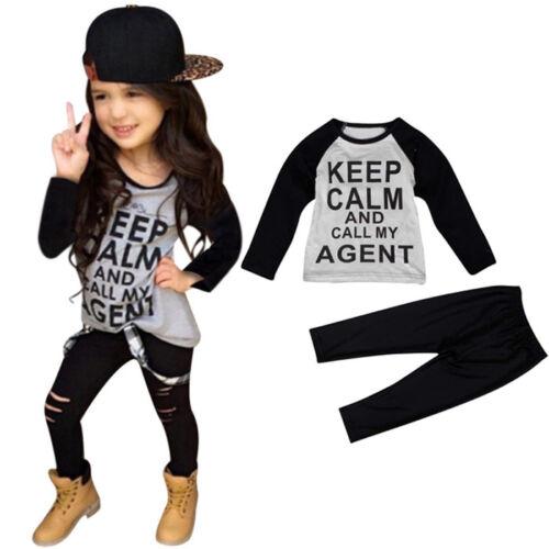 1Set Kids Toddler Girl Outfits Clothes Jazz T-shirt Tops Long Pants Trouser Nice