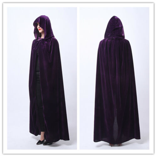 Velvet Hooded Cloak  Wicca Robe Medieval Witchcraft Larp Cape USA Ship M-XXL