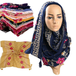 Women-Embroidered-Flower-Tassel-Scarf-Shimmer-Shawl-Muslim-Hijab-Wraps-Scarves