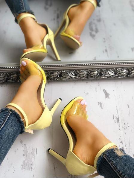 Sandali stiletto tronchetto giallo alti 12 cm  simil simil simil pelle eleganti 1344 c9da1b