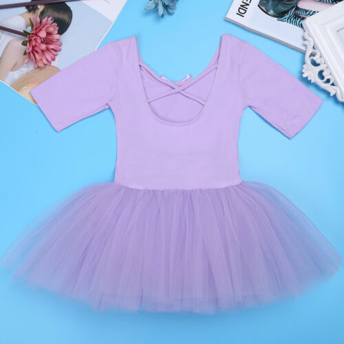 Kids Girls Gymnastics Leotard Tulle Ballet Dance Tutu Dress Cross Back Dancewear