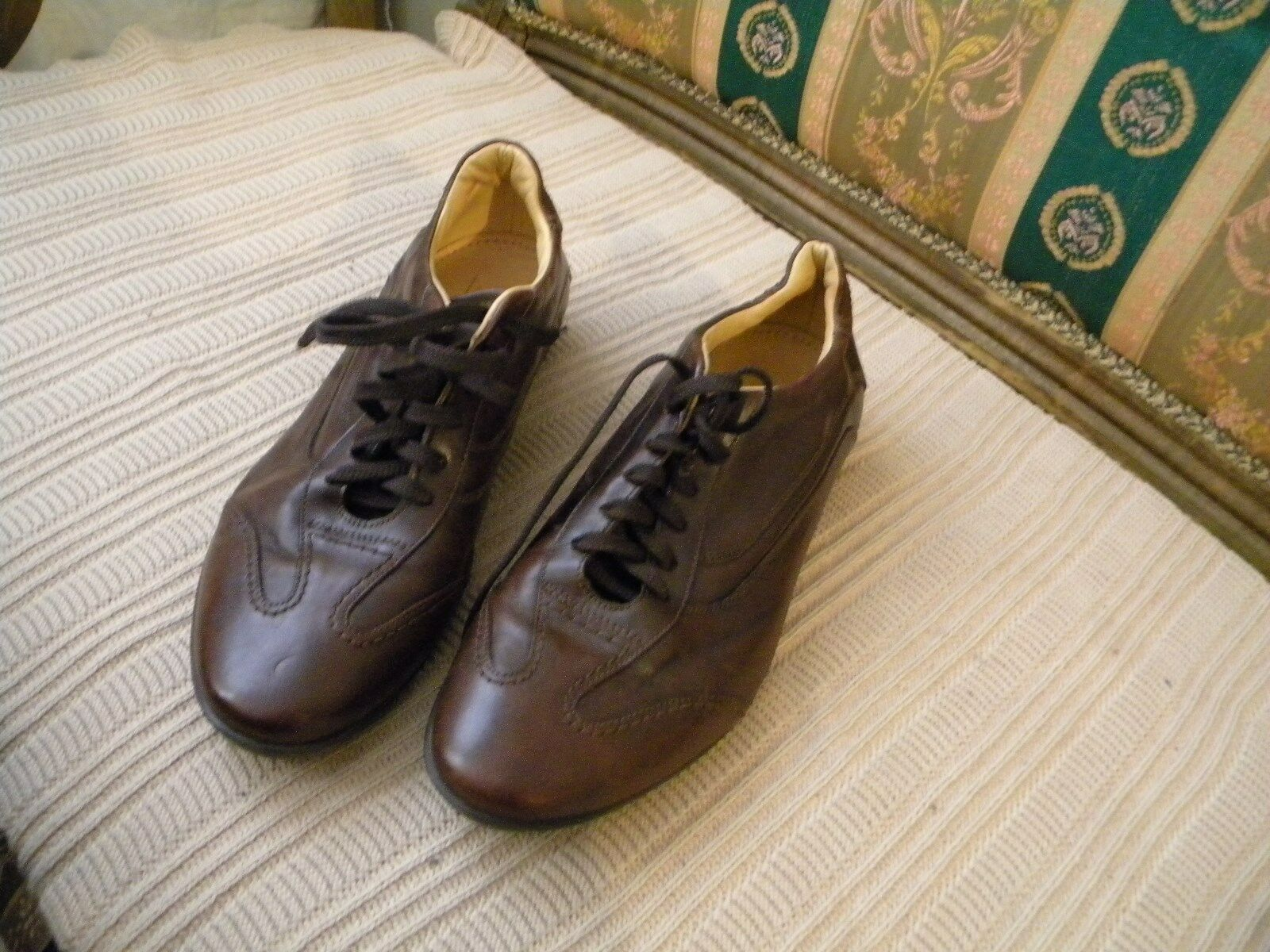 MERCANTI FIORENTINI Brown Leather Fashion Sneakers shoes 8-M  Made in ITALY