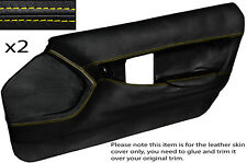YELLOW STITCH 2X FRONT FULL DOOR CARD LEATHER SKIN COVER FITS CORVETTE C4