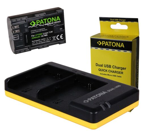 Premium patonas para lp-e6n batería 2040mah Canon EOS 5d mark 4 dual cargador F