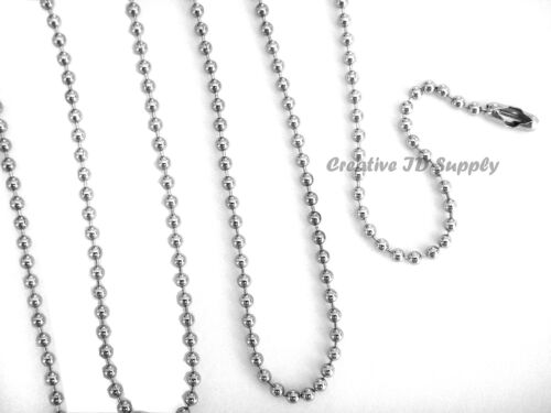 """WHOLESALE LOT of 100 200 500 1000 BALL CHAIN 2.4mm 24/"""" Nickel Plated Best Price"""