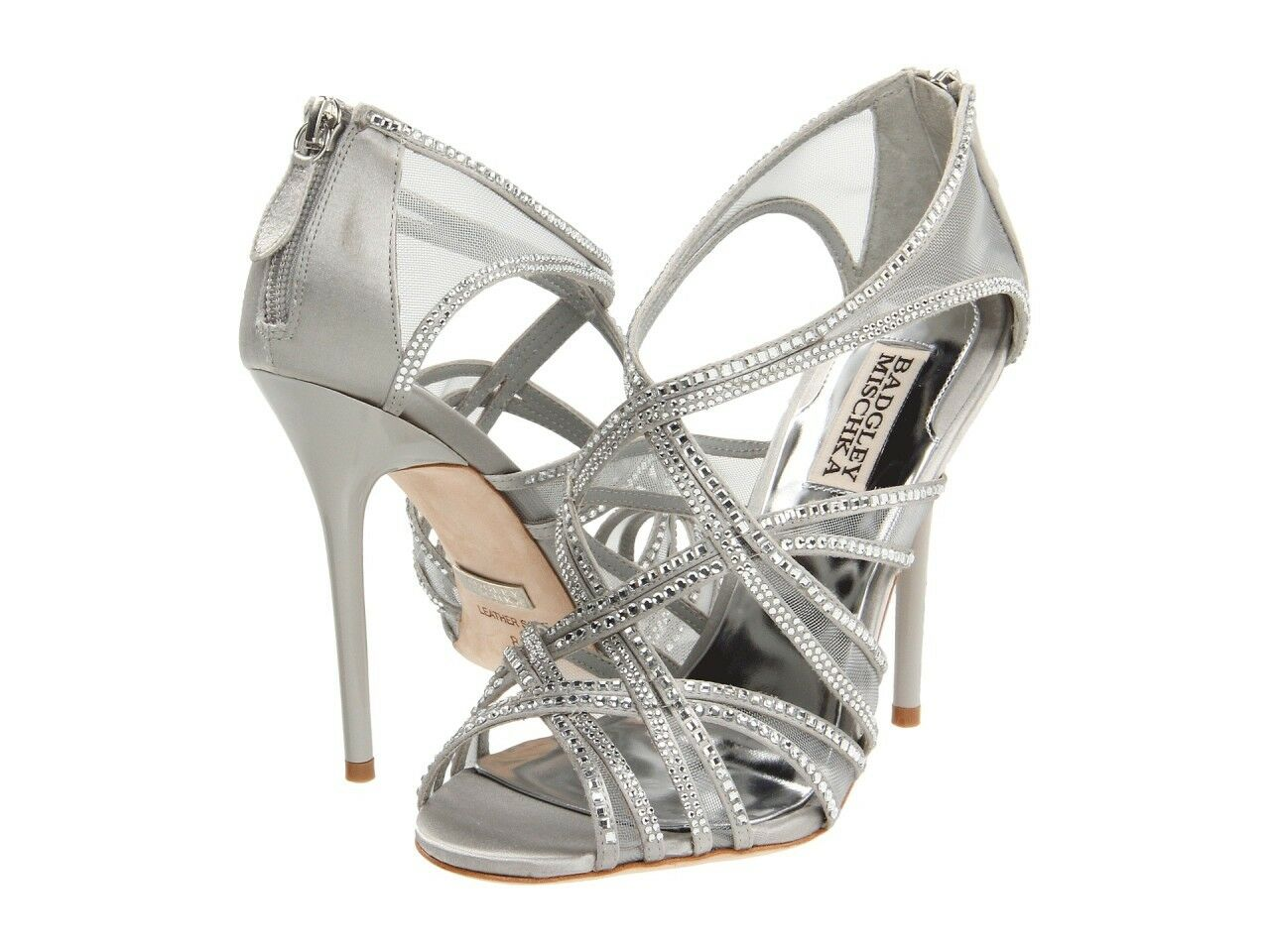 Badgley Mischka Gloria Sandal Grey Silver Heel Jeweled Crystals Float Shoes NEW