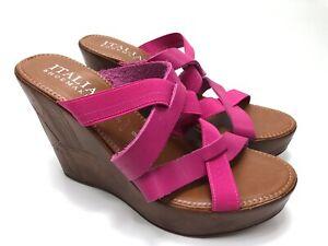 Italian-Shoe-Makers-Women-039-s-Size-9-Open-Toe-Wedge-Heels-Brown-Pink-Slip-On