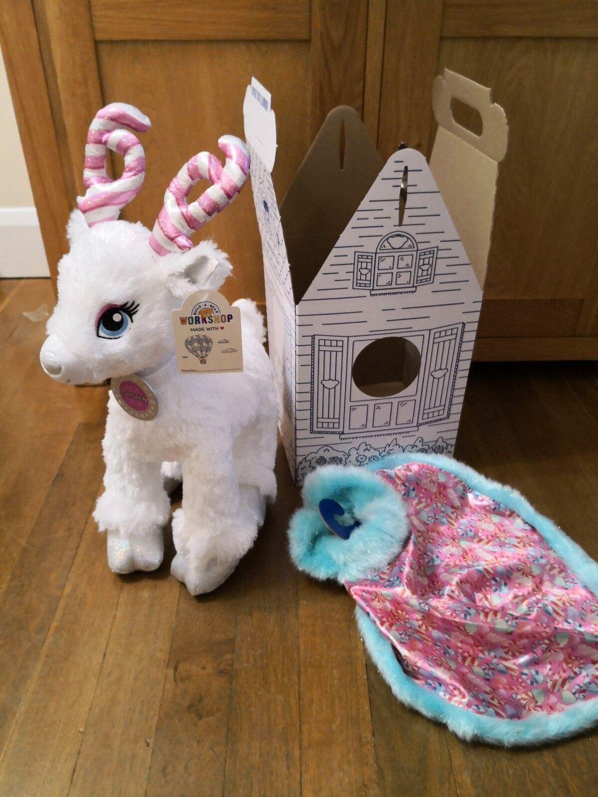 BNIB Build A Bear Christmas Reindeer Candy Cane Glisten & cape BAB box Brand New