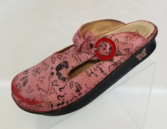 eda994a5d5a4 Alegria PG Lite Scribble Clog Mules Womens Pink Leather Shoes EU 41 US  11-11.5