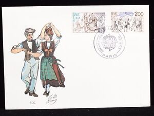 France-1981-FDC-2-Sets-Europa-Music-Dancing-Stamps-Cover