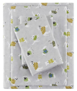 NEW FULL FLANNEL SHEET SET FITTED SET DOG PRINT BY TRUE NORTH DOUBLE SHEETS