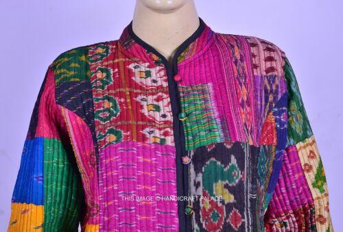 Vintage Reversible jas damesjas Sari patchwork Patola Kantha gewatteerde tqFnrt