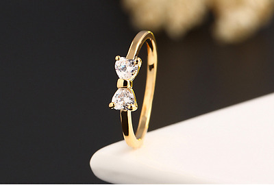Micro-inlay 2 Cts AAA Cubic Zirconia *Bow* Gold GP Engagement Wedding Ring