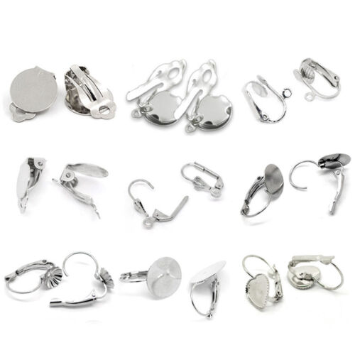Earring New Clip Findings Silver Tone M0976