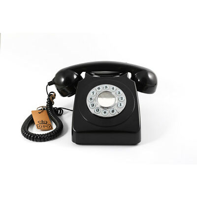Retro GPO 746 Push Button Dial Telephone Vintage Style Phone  - Black