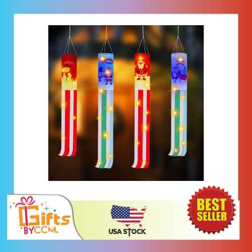 4 Pieces Christmas Windsock Flag with LED Lights Snowman Winter Party 60,40 Inch