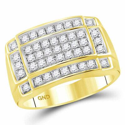 10kt Gelbgold Herren Runder Diamant Rechteck Cluster 1.00 Cttw