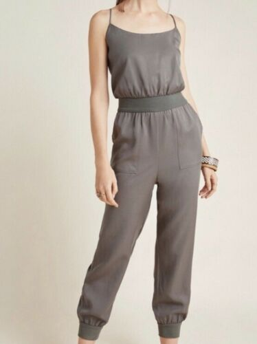 Anthropologie Army Green Olive Jumpsuit Sleeveless