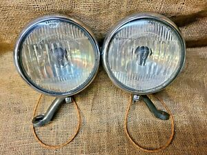 """Vintage Original Guide 5 3/4"""" Accessory FOG LIGHTS Lamps Clear GM Chevy Buick"""