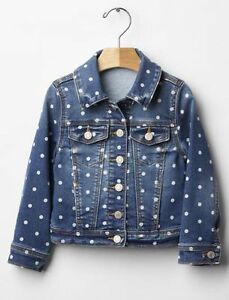 GAP Baby / Toddler Girls Size 4 Years / 4T Blue Polka Dot Jean Denim Jacket Coat