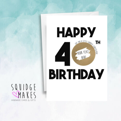 Gift Surprise Reveal Scratch off card Personalised 50th Birthday Scratchcard