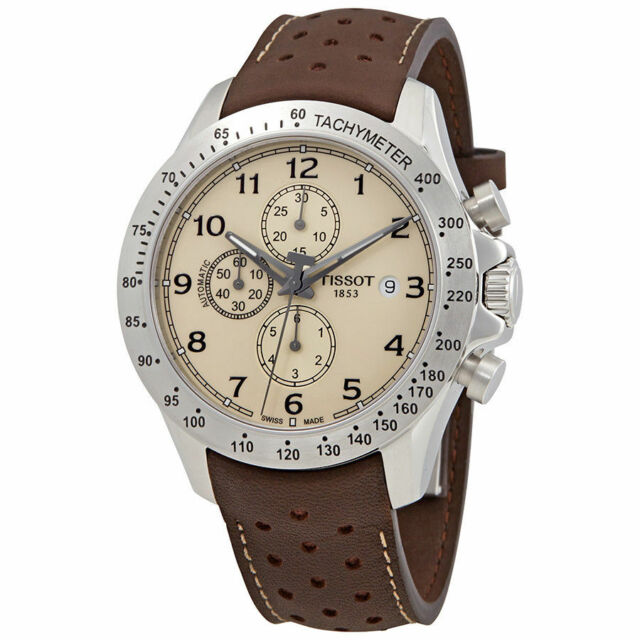 Tissot V8 Chronograph Ivory Dial Brown Leather Men S Watch