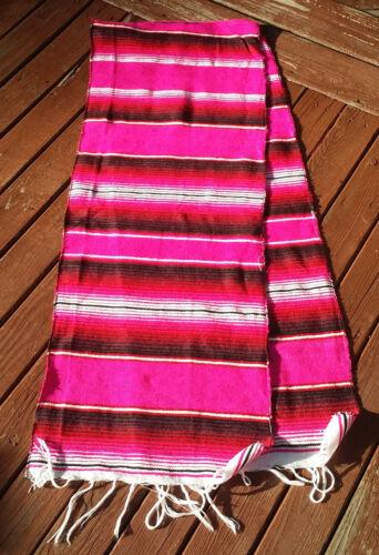 "PINK Mexican Serape Table Runner 72/"" Lightweight Saltillo  Sarape"