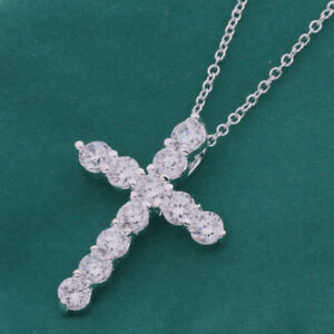Gorgeous-Natural-White-Fire-Topaz-Gems-Silver-Cross-Necklace-Pendant-With-Chain