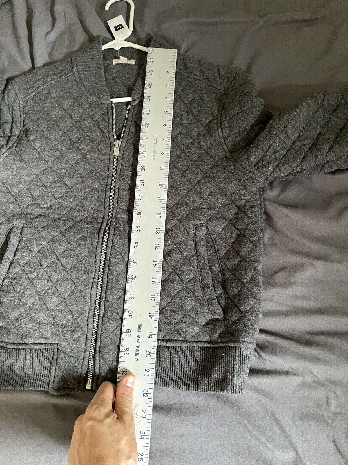 gap womens gray quilted bomber