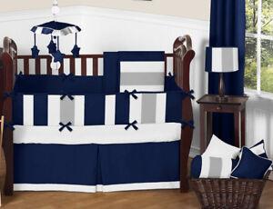 Sweet Jojo Designs Modern Stripe Blue Grey Designer Crib Baby Boy Bedding Set Ebay